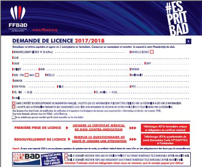 Formulaire Licence FFBAD